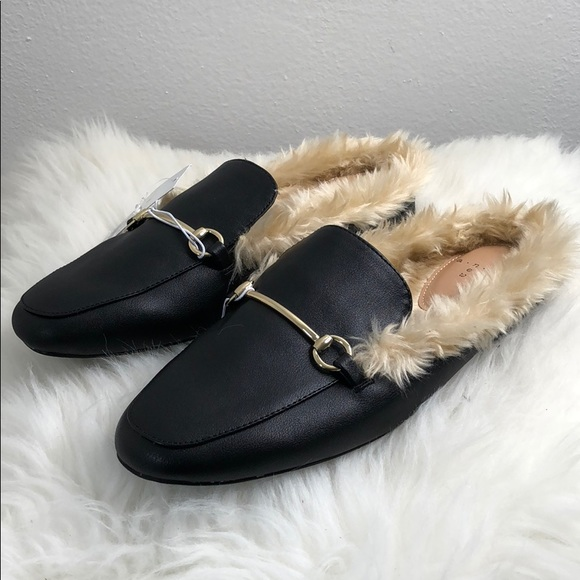 f0a30e0477be A New Day Black Faux Fur Slide Loafer Mule Target